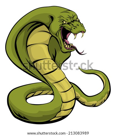 An illustration of a cobra snake sports mascot about to strike - stock vector