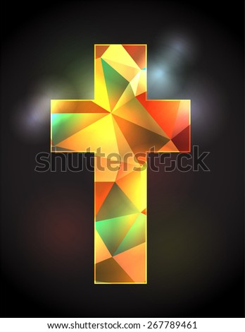An illustration of a colorful stained glass Christian cross on a black back lit background.  - stock vector