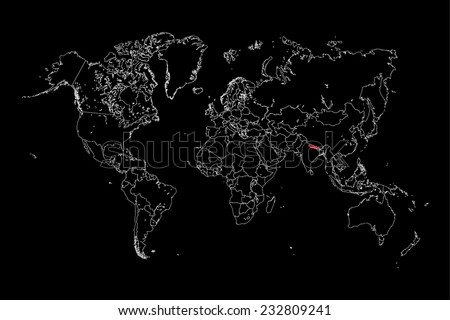An Illustration of a colourfully filled outline of  Nepal - stock vector