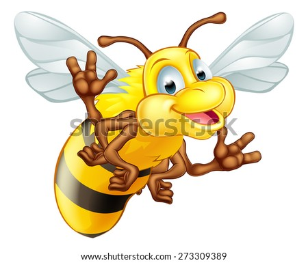 An illustration of a cute cartoon bee mascot character