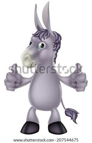 An illustration of a cute cartoon donkey giving a thumbs up gesture - stock vector