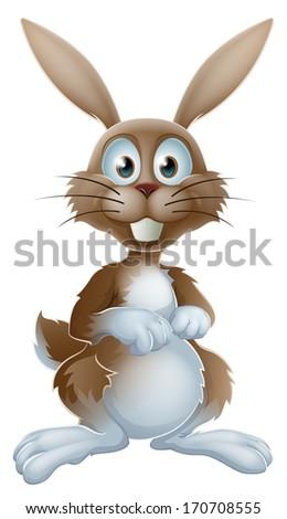 An illustration of a cute cartoon rabbit or Easter bunny - stock vector