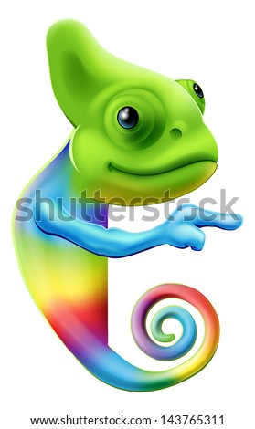 An illustration of a cute cartoon rainbow coloured chameleon pointing round a sign or banner