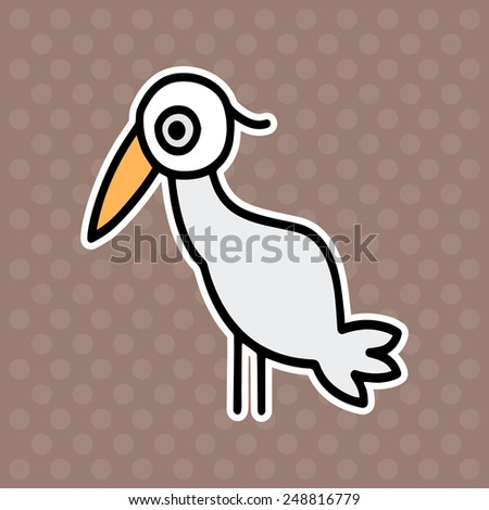 An illustration of a cute cartoon stork bird character on brown background - stock vector