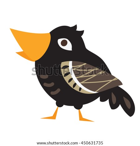 An illustration of a cute crow in vector format. Nice crow bird image for kid's education and fun in nursery and schools, and decoration purposes. Birds collection - stock vector