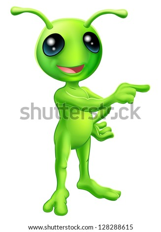An illustration of a cute green cartoon alien pointing a finger and showing something - stock vector