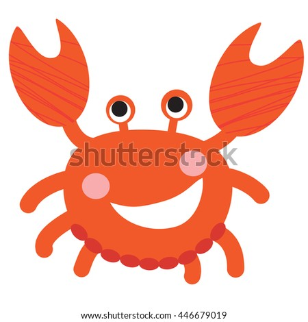An illustration of a cute smiling red crab in vector format. Nice crab image for kid's education and fun in nursery and schools, and decoration purposes. Sea animals collection