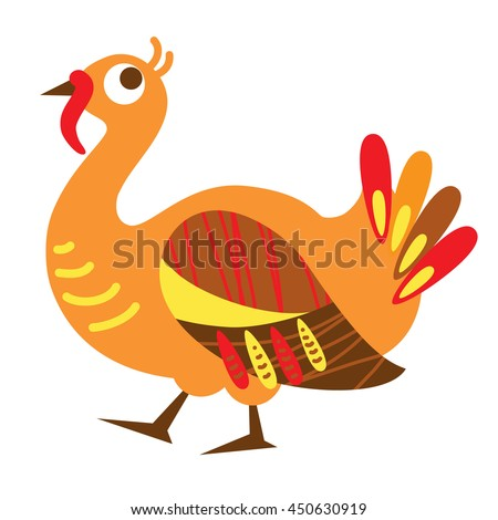 An illustration of a cute turkey in vector format. Nice turkey image for kid's education and fun in nursery and schools, and decoration purposes. Birds collection