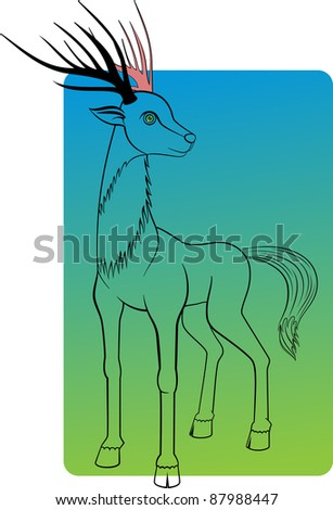 An illustration of a deer. Can be scaled without quality loss. - stock vector