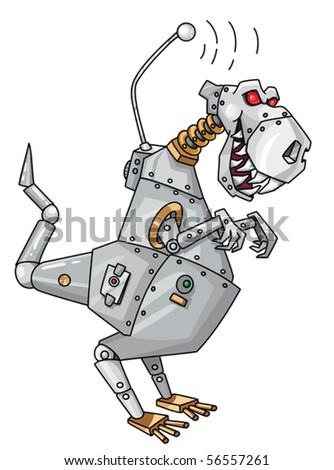 An illustration of a dinorobot - stock vector