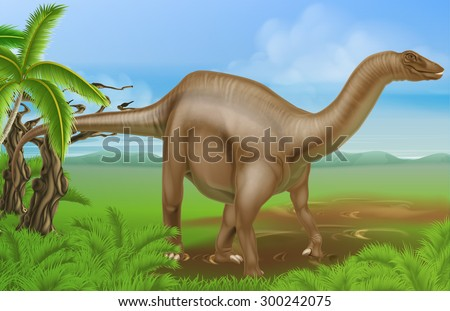 An illustration of a Diplodocus dinosaur from the sauropod family like brachiosaurus and other long neck dinosaurs in a background scene. What we used to call brontosaurus - stock vector