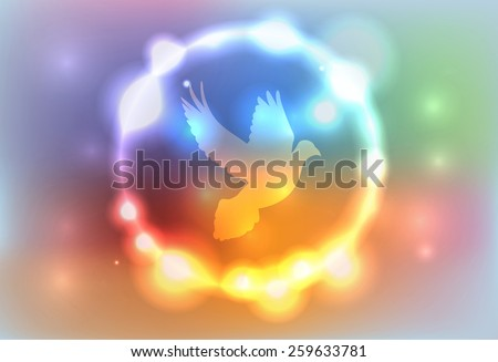 An illustration of a dove surrounded by a colorful abstract glowing lights. Vector EPS 10. EPS file contains transparencies and a gradient mesh. - stock vector