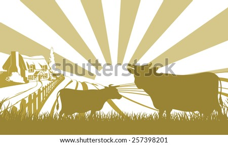 An illustration of a farm house thatched cottage in an idyllic landscape of rolling hills with two cows in silhouette standing in the foreground - stock vector