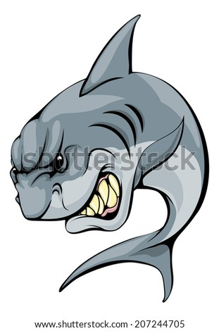 An illustration of a fierce shark animal character or sports mascot - stock vector