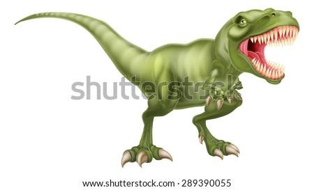 An illustration of a fierce tyrannosaurs rex dinosaur roaring - stock vector