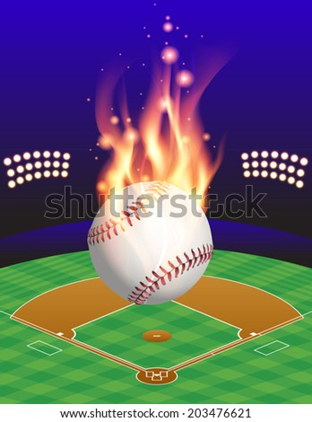 An illustration of a flaming baseball above an aerial view of a baseball field. Vector EPS 10 contains transparencies and gradient mesh. - stock vector