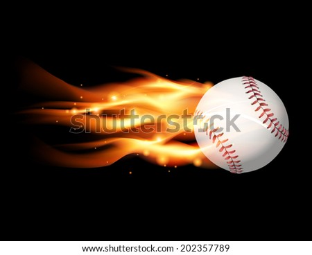 An illustration of a flaming baseball flying. Vector EPS contains transparencies and gradient mesh. - stock vector