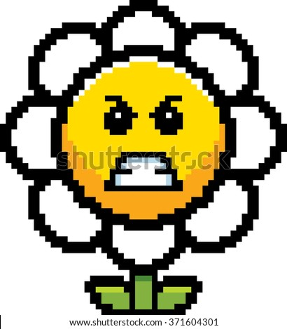 An illustration of a flower looking angry in an 8-bit cartoon style. - stock vector