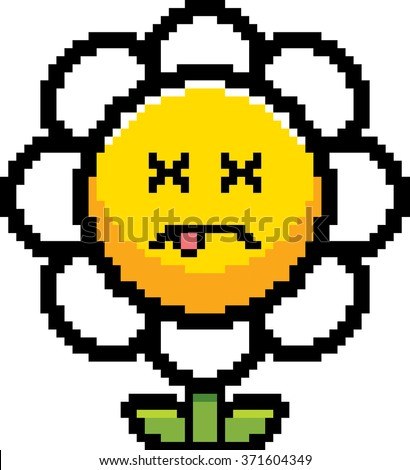 An illustration of a flower looking dead in an 8-bit cartoon style. - stock vector
