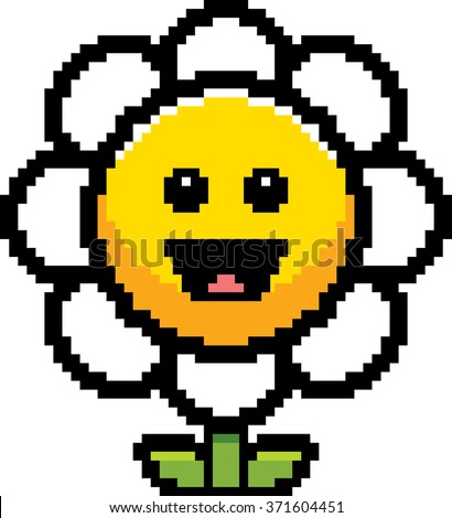An illustration of a flower smiling in an 8-bit cartoon style.