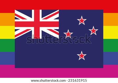 An Illustration of a gay flag with a flag on top of New Zealand - stock vector