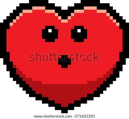 An illustration of a ghost looking surprised in an 8-bit cartoon style. - stock vector