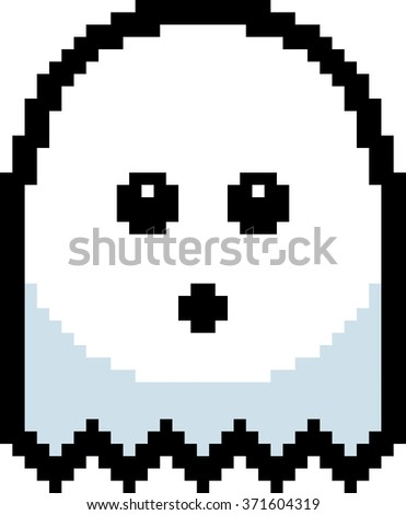 An illustration of a ghost looking surprised in an 8-bit cartoon style.