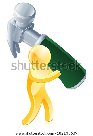 An illustration of a gold mascot man character with a big hammer - stock vector