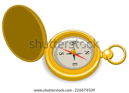 An Illustration of a gold vintage pocket compass - stock vector