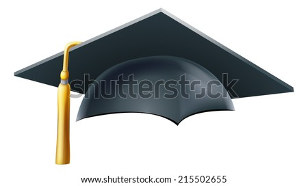An illustration of a Graduation or convocation mortar board hat or cap - stock vector