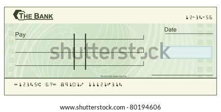 An illustration of a green blank cheque - stock vector