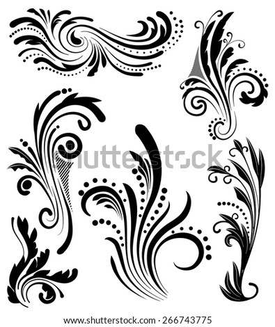 An Illustration of a group of floral lines - stock vector