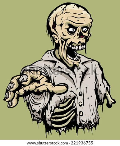 An Illustration of a half torso of a zombie - stock vector