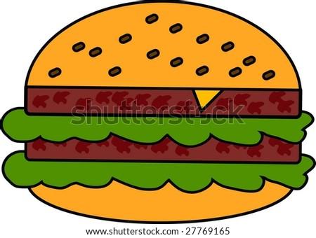 An illustration of a hamburger. - stock vector
