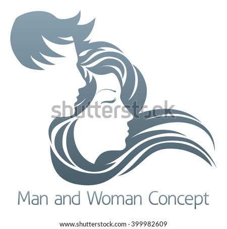 An illustration of a handsome man and beautiful woman with flowing hair in profile - stock vector