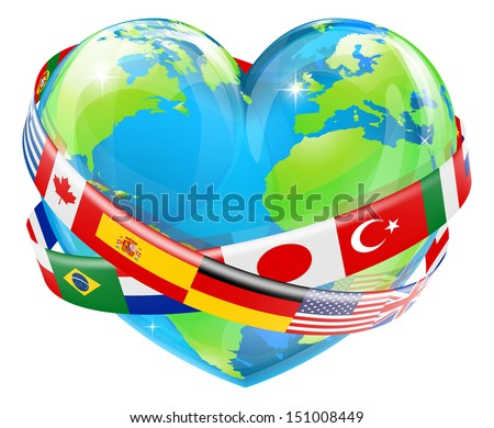An illustration of a heart shaped world earth globe with the flags of many different countries flying around it.  - stock vector