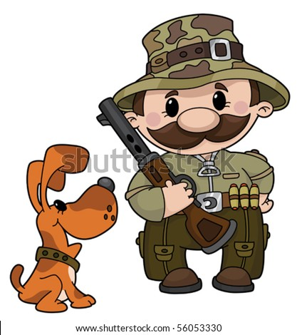 An illustration of a hunter and dog - stock vector