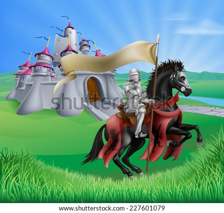 An illustration of a knight with a banner on his horse and a fantasy fairytale medieval castle in a landscape of rolling hills  - stock vector