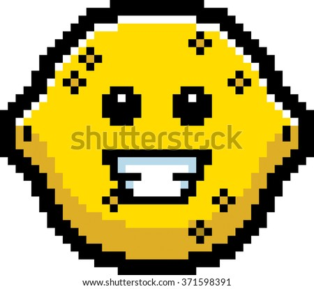 An illustration of a lemon smiling in an 8-bit cartoon style. - stock vector