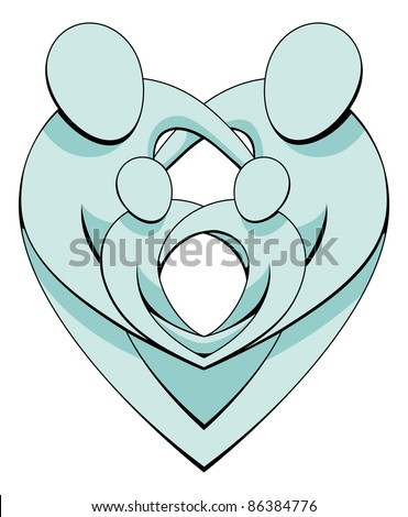 An illustration of a loving family holding each other protectively forming interlocking heart shapes. - stock vector