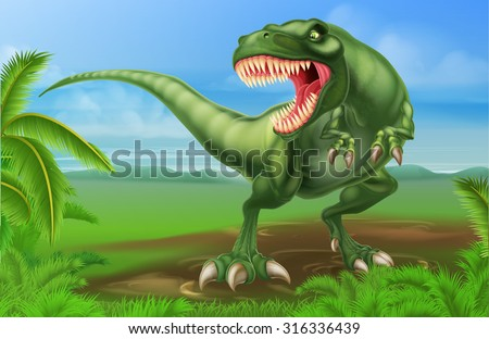 An illustration of a mean looking Tyrannosaurs Rex dinosaur in a prehistoric background - stock vector