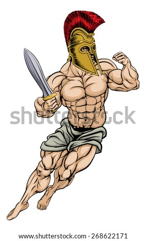 An illustration of a muscular strong Roman Gladiator Warrior - stock vector