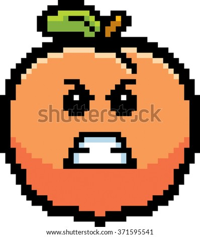 An illustration of a peach looking angry in an 8-bit cartoon style.