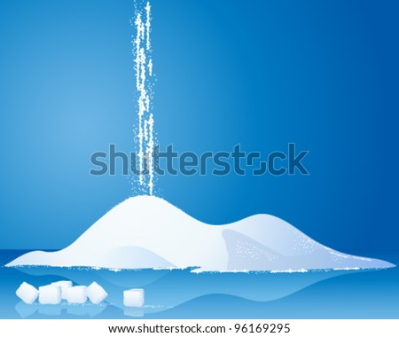 an illustration of a pile of white sugar with sugar cubes and reflections on a blue background - stock vector