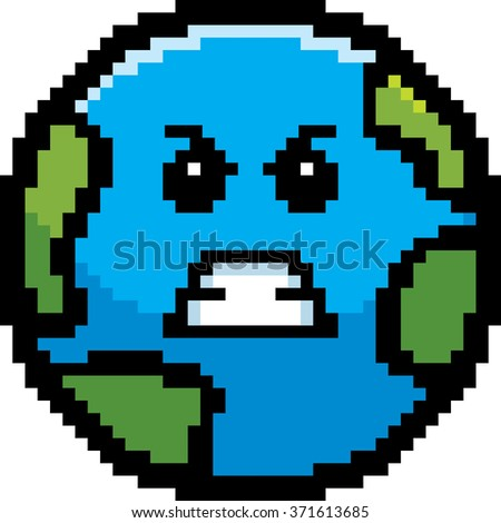 An illustration of a planet earth looking angry in an 8-bit cartoon style. - stock vector