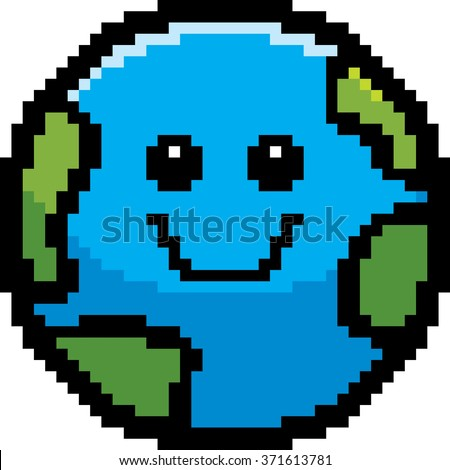 An illustration of a planet earth smiling in an 8-bit cartoon style. - stock vector