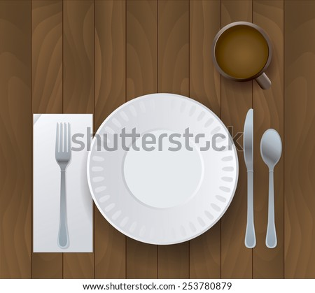 An illustration of a plate, silverware, and cup of coffee sitting on a wooden background. Vector EPS 10. EPS file contains transparencies.