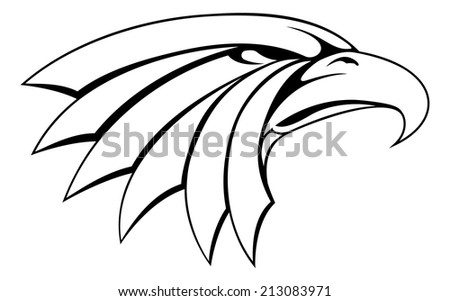 An illustration of a proud eagle head icon - stock vector