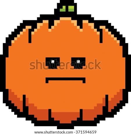 An illustration of a pumpkin looking serious in an 8-bit cartoon style. - stock vector