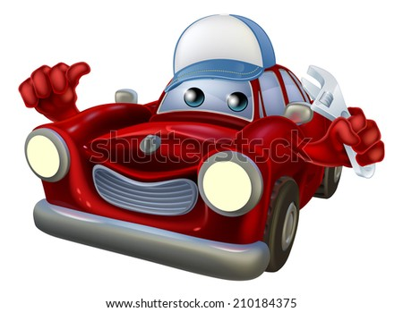 An illustration of a red cartoon car character wearing a cap and holding a spanner while giving a thumbs up. - stock vector